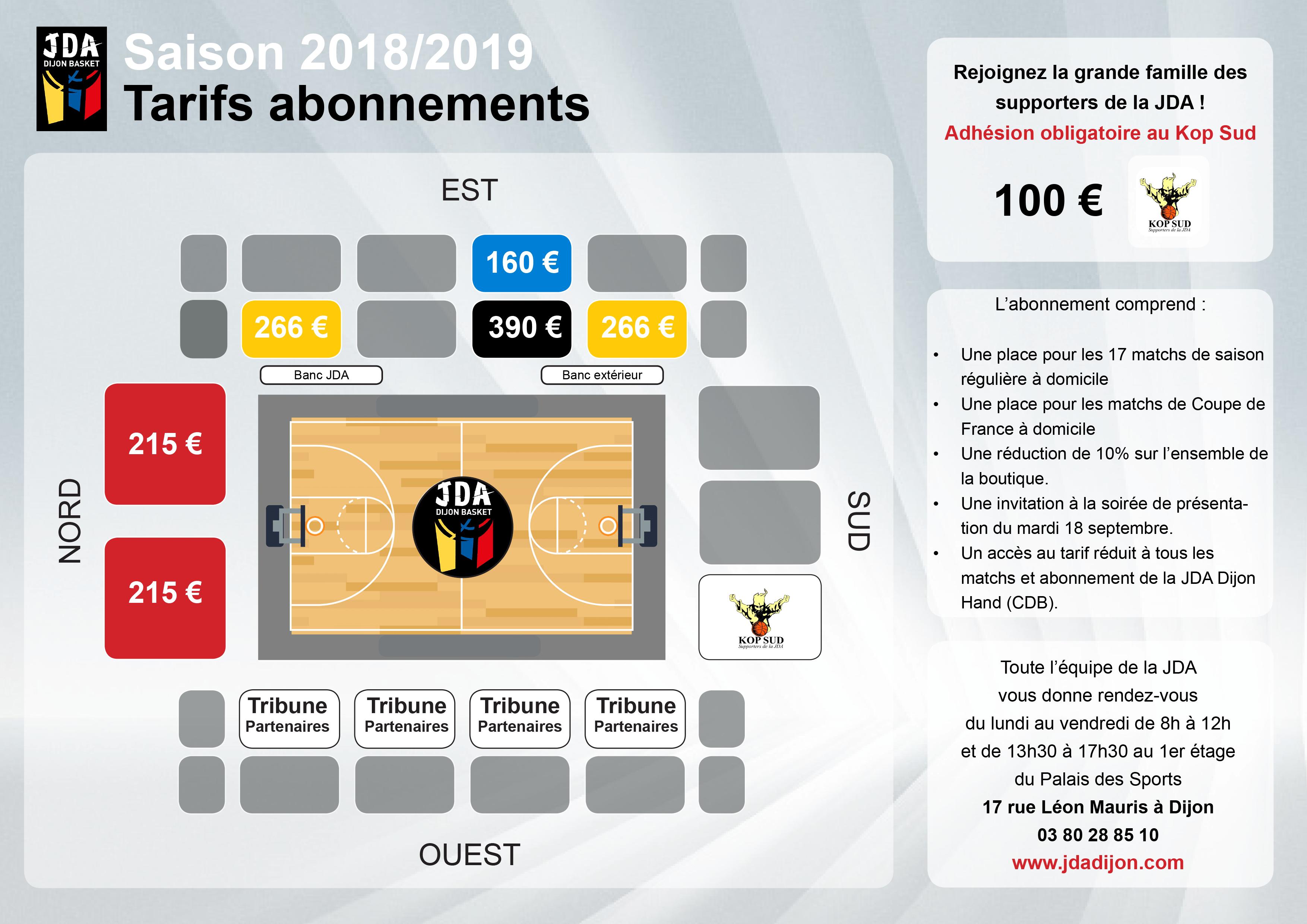 Tarifs abonnement 2018-2019