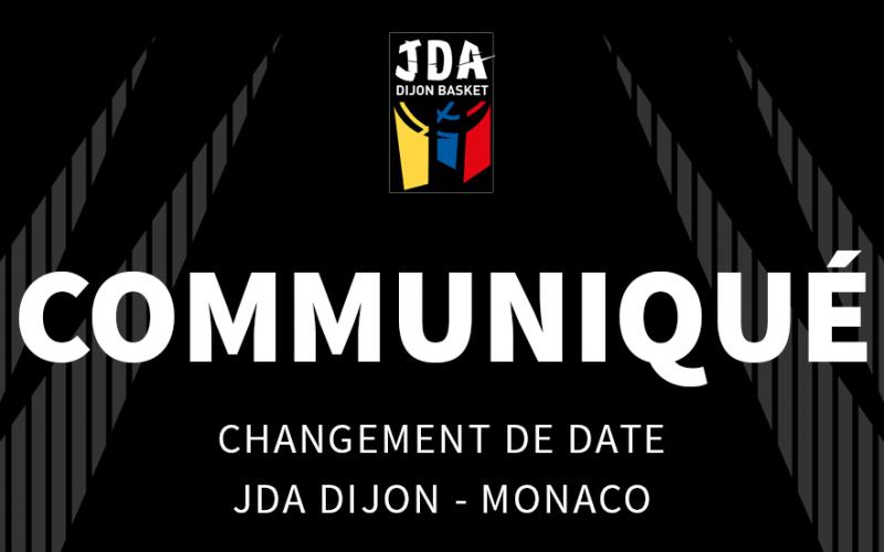 Changement de date pour JDA Dijon – Monaco